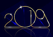 2019 Happy New Year with gold texture, modern Background, vector isolated or dark blue background, elements for calendar and greetings card or Christmas themed luxury golden laser event invitations