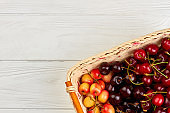 Fresh ripe cherries in basket and copy space.