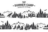 Summer camp seamless pattern. Vector illustration