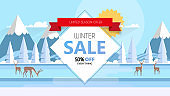Winter sale banner, vector illustration with winter landscape. Special offer.