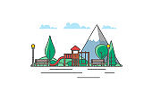 Landscape nature background public park, playground. Vector illustration.