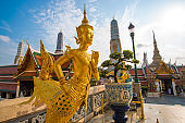 Golden architecture of grand palace buddha temple in Bangkok