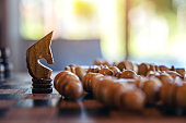 Closeup image of a horse win all the chess on wooden chessboard