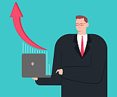 Businessman with laptop and growing graph. Vector cartoon man character isolated on background.