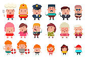 People of different occupations and ages: cook, fireman, policeman, teacher, waiter, grandfather, grandmother, kids and parents. Vector flat cartoon set of funny men and women characters.