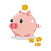 Piggy bank vector icon. Illustration of money box in the form of an agricultural animal with gold coins isolated on a white background.