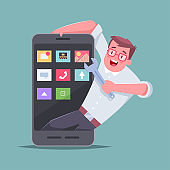 Mobile application developer. Vector cartoon concept illustration of a man with a wrench and a smartphone.