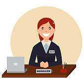 Credit manager sits at a table in the bank office. Vector cartoon character of a woman business consultant with laptop. Illustration isolated on white background.