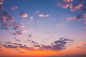 Sunset Sunrise Sky Background. Natural Bright Dramatic Sky In Sunset Dawn Sunrise. Yellow And Pink Colors
