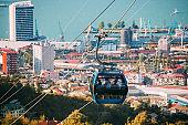 Batumi, Adjara, Georgia. Aerial Lift Cableway In Sunny Summer Day. Pendant Road