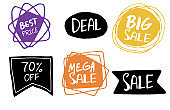 Sale. Hand drawn word tag