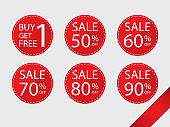 buy 1 get 1 free,sale 50-90 percent tags simple circle flat vector