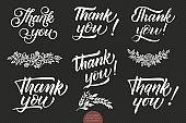 Set of hand drawn lettering Thank You. Elegant modern handwritten calligraphy with thankful quote. Vector Ink illustration. Typography poster on dark background. For cards, invitations, prints etc.