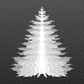 Christmas tree. Pine tree isolated. Black and white. Styled as paper cut.