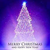 Shining christmas trees on colorful violet background with backlight and glowing particles. Abstract vector background. Glowing fir-tree. Elegant shining background for you design.