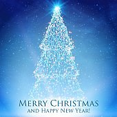 Shining christmas trees on colorful blue background with backlight and glowing particles. Abstract vector background. Glowing fir-tree. Elegant shining background for you design.