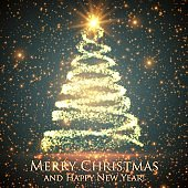 Shining christmas tree on green background with backlight and glowing particles. Abstract vector background. Glowing fir-tree. Elegant shining background for you design. EPS 10