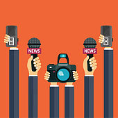 Microphones in reporter hands. Set of microphones and recorders in hands. Mass media, television, interview, breaking news, press conference concept. Flat vector illustration.