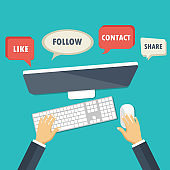 Social network and chatting banner. Global communication, e mailing, web calls. Hands holding tablet with huge speech bubble. Flat vector illustration