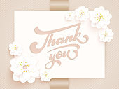 Elegant vector Thank you. Vector invitation card with background and frame with flower elements and beautiful typography. Sunny spring backdrop. Artistic lettering