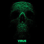 Vector skull constructed with green binary code. Internet security concept illustration. Virus or malware abstract visualization. Hacking big data image