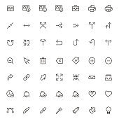 Simple outline flat icons. Set of universal icons for website and mobile. Flat vector illustration