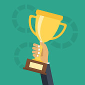 Hand holding trophy. Concept for winning in sports, business. Flat vector illustration