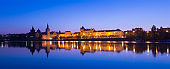 Panoramic View of The Prague City Skyline along the Vltava River at Twilight, Czech Republic