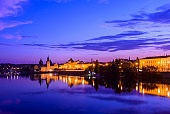 The Prague City Skyline along the Vltava River at Twilight, Czech Republic