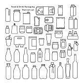 Food and Drink Packaging Icon set