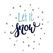 Let It Snow hand lettering and doodles - Illustration