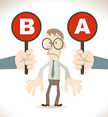 Businessman with two options to choose between A or B