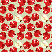 Seamless pattern of apples, watercolor background illustration.