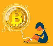 Bitcoin bubble - Businesswoman