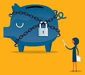 Piggy bank are lock - Businesswoman