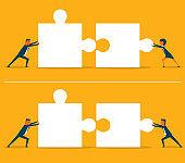 Business puzzle pieces