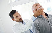 Medical examination of a pain in the neck.