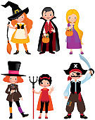 Set fabulous Halloween characters. Boys and girls in the costumes of a Halloween party. Vector cartoon illustration.
