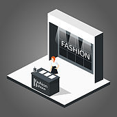 Isometric 3D vector illustration expo fashion show stand exhibition with people