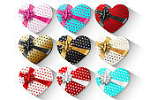 A set of gift hearts, a box in the shape of a heart with a festive bow, isolated on a white background. Romance, Valentine's Day, love.