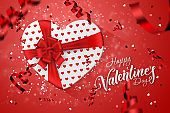 Happy Valentine's Day festive web banner. Top view of a romantic composition with gift boxes, confetti in the form of a heart. Pink background. Romance.