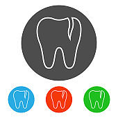 Cracked molar tooth. Icon set. Vector