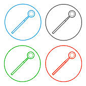 Dental instrument - angled mirror. Icon set. Vector