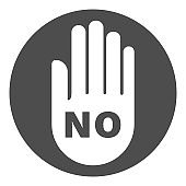 NO button. Hand silhouette with inscription NO. Vector icon