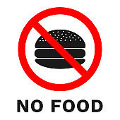 NO FOOD sign. Sticker with inscription. Vector