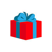 Red gift box with blue ribbon. Vector