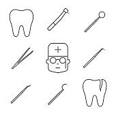 Dental equipment. Icon set. Vector