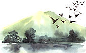 Watercolor chinese landscape