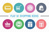 Flat UI 8 Color Shopping Icon Set. Eps-10. Very Useful Shopping icon Set Simple illustration. Icons Useful For Web, Mobile, Software & Apps. Eps-10.