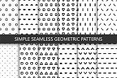 Collection of simple seamless geometric patterns. Black and white texture.